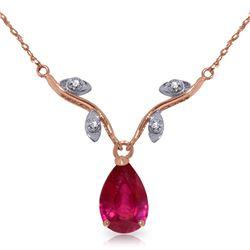 Genuine 1.52 ctw Ruby & Diamond Necklace Jewelry 14KT Rose Gold - REF-35K9V