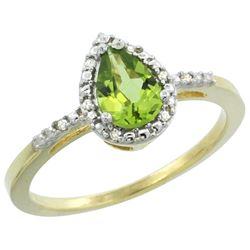 Natural 1.53 ctw peridot & Diamond Engagement Ring 14K Yellow Gold - REF-25N5G