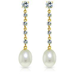 Genuine 10 ctw Aquamarine & Pearl Earrings Jewelry 14KT Yellow Gold - REF-38V2W