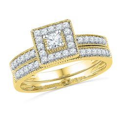 0.50 CTW Diamond Square Halo Bridal Engagement Ring 10KT Yellow Gold - REF-49W5K