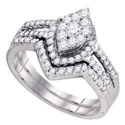 0.74 CTW Diamond Oval Cluster Bridal Engagement Ring 10KT White Gold - REF-64K4W