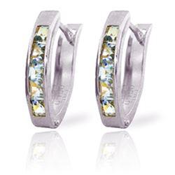 Genuine 0.85 ctw Aquamarine Earrings Jewelry 14KT White Gold - REF-25F6Z