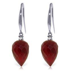 Genuine 26.2 ctw Ruby & Diamond Earrings Jewelry 14KT White Gold - REF-43H3X