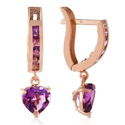 Genuine 3.2 ctw Amethyst Earrings Jewelry 14KT Rose Gold - REF-37Z4N