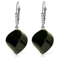 Genuine 31.15 ctw Black Spinel & Diamond Earrings Jewelry 14KT White Gold - REF-50M5T