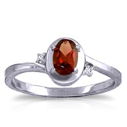 Genuine 0.51 ctw Garnet & Diamond Ring Jewelry 14KT White Gold - REF-25X4M