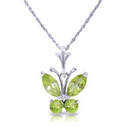 Genuine 0.60 ctw Peridot Necklace Jewelry 14KT White Gold - REF-23H5X
