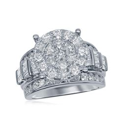 2.95 CTW Diamond Cluster Bridal Engagement Ring 10KT White Gold - REF-224N9F