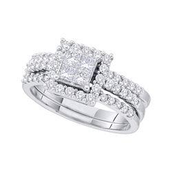 1.01 CTW Princess Diamond Bridal Engagement Ring 14KT White Gold - REF-134H9M