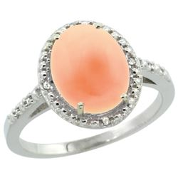 Natural 2.02 ctw Coral & Diamond Engagement Ring 14K White Gold - REF-32G8M