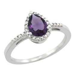 Natural 1.53 ctw amethyst & Diamond Engagement Ring 14K White Gold - REF-25N5G
