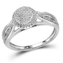 0.25 CTW Diamond Cluster Bridal Engagement Ring 10KT White Gold - REF-26H3M