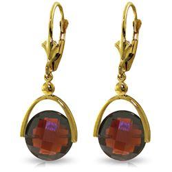 Genuine 8.4 ctw Garnet Earrings Jewelry 14KT Yellow Gold - REF-44A3K