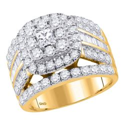 2.97 CTW Princess Diamond Solitaire Halo Bridal Engagement Ring 14KT Yellow Gold - REF-285K2W