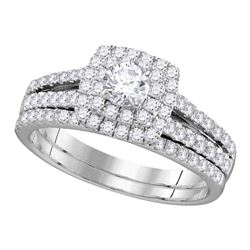 1 CTW Diamond Halo Bridal Engagement Ring 14KT White Gold - REF-97F4N