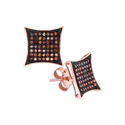 0.33 CTW Red Color Diamond Square Kite Cluster Earrings 10KT Rose Gold - REF-30X2Y