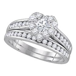 1.25 CTW Princess Diamond Heart Bridal Engagement Ring 14KT White Gold - REF-119Y9X