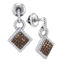 0.50 CTW Cognac-brown Color Diamond Diagonal Earrings 10KT White Gold - REF-26H9M