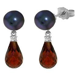 Genuine 6.6 ctw Black Pearl, Garnet & Diamond Earrings Jewelry 14KT White Gold - REF-27X6M