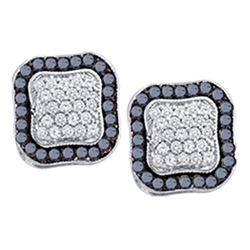 0.97 CTW Black Color Diamond Cluster Earrings 10KT White Gold - REF-37W5K