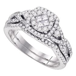 0.73 CTW Princess Diamond Soleil Cluster Bridal Engagement Ring 14KT White Gold - REF-89N9F