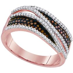 0.51 CTW Red Color Diamond Crossover Ring 10KT Rose Gold - REF-46M4H