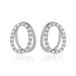 0.56 CTW Diamond Earrings 14K White Gold - REF-52W3H