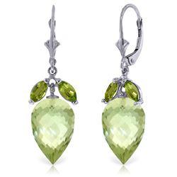 Genuine 20 ctw Green Amethyst & Peridot Earrings Jewelry 14KT White Gold - REF-51M8T