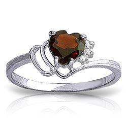 Genuine 0.97 ctw Garnet & Diamond Ring Jewelry 14KT White Gold - REF-29W7Y