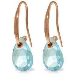 Genuine 8 ctw Blue Topaz Earrings Jewelry 14KT Rose Gold - REF-36Z8N