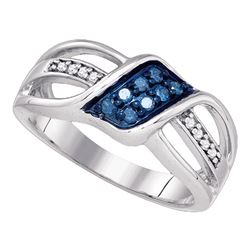 0.20 CTW Blue Color Diamond Crossover Ring 10KT White Gold - REF-25F4N