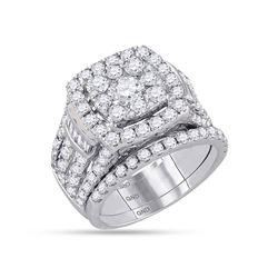 3.98 CTW Diamond Bridal Wedding Engagement Ring 14KT White Gold - REF-442H4M