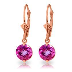 Genuine 3.1 ctw Pink Topaz Earrings Jewelry 14KT Rose Gold - REF-34W3Y