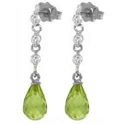 Genuine 3.3 ctw Peridot & Diamond Earrings Jewelry 14KT White Gold - REF-42R9P