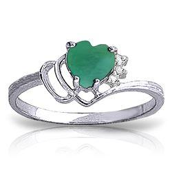 Genuine 1.02 ctw Emerald & Diamond Ring Jewelry 14KT White Gold - REF-36F9Z