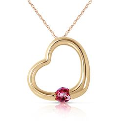 Genuine 0.25 ctw Pink Topaz Necklace Jewelry 14KT Yellow Gold - REF-29P2H