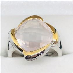 ROSE QUARTZ MEN'S RING SIZE 7 3/4