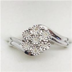 SILVER 7 DIAMOND RING SIZE 7