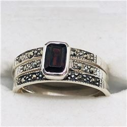 SILVER GARNET MARCASITE SET OF RINGS SIZE 7.5