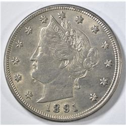 1891 LIBERTY NICKEL AU/BU