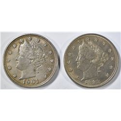 1883 NO CENTS BU & 1901 AU LIBERTY NICKELS
