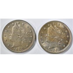 1905, 07 LIBERTY NICKELS AU/BU