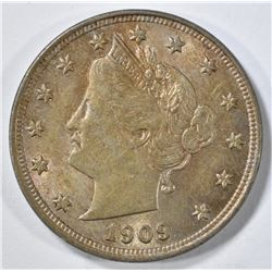 1909 LIBERTY NICKEL AU/BU