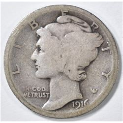 1916-D MERCURY DIME GOOD MARK ON OBV.