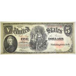 "1907 $5 LEGAL TENDER ""WOOD CHOPPER"" VF"
