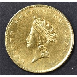 1855 $1 GOLD INDIAN PRINCESS  BU  OLD CLEANING