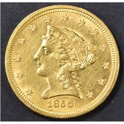 1856 $2.5 GOLD LIBERTY HEAD  BU  OLD CLEANING