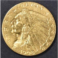 1908 $2.5 GOLD INDIAN HEAD  CH BU