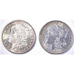 1878-S FLASHY & 1885 CH BU MORGAN DOLLARS
