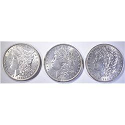 (3) MORGAN DOLLARS: 1889, 1890, 1896